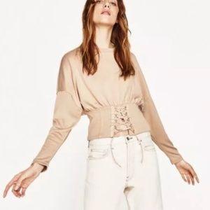 Zara Cinch Waist Corset Long Sleeve Top Large